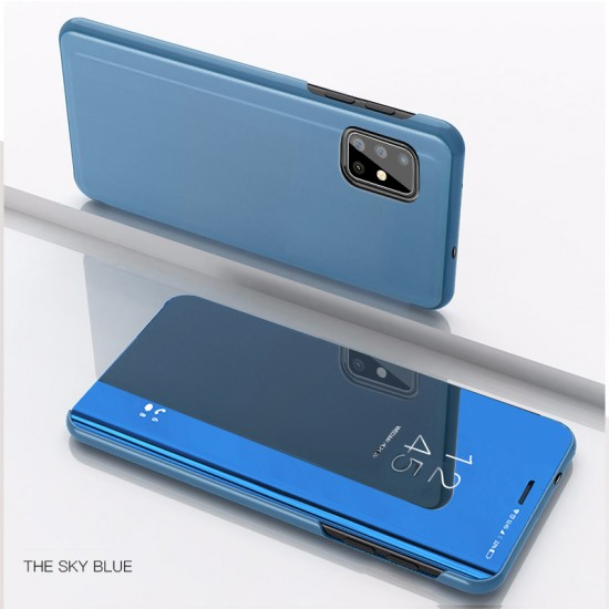 Husa pentru Samsung Galaxy A51 , Clear View Flip Mirror Stand, Albastru