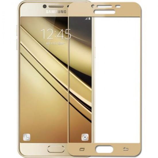 Folie de protectie din sticla 6D Samsung Galaxy J3 2017 - Contur Auriu