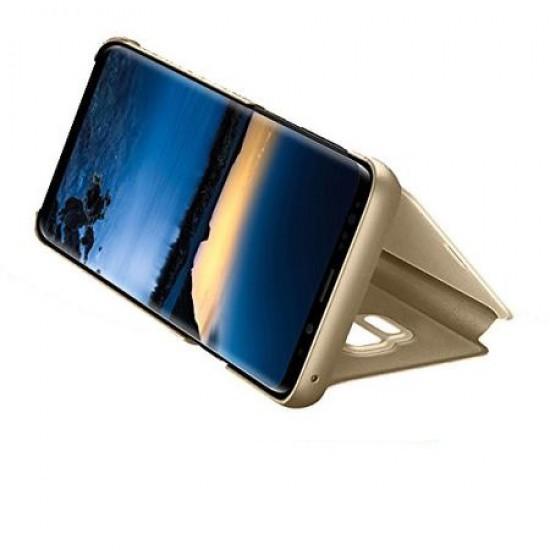 Husa pentru Samsung Galaxy A51 , Clear View Flip Mirror Stand, Auriu