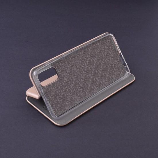 Husa Flip cover magnetic compatibila cu Samsung Galaxy A02S, Gold